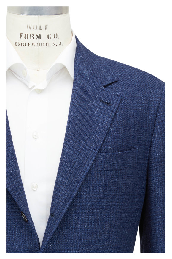 Brunello Cucinelli Bright Blue Tonal Plaid Sportcoat