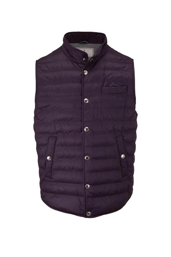 Brunello Cucinelli Purple Quilted Nylon Vest