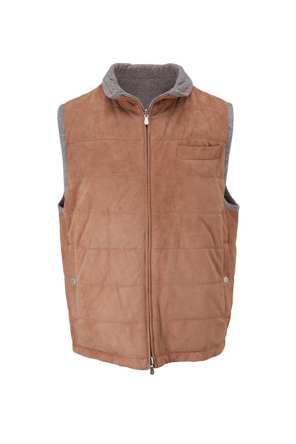 Brunello Cucinelli Dark Tan & Gray Suede & Cashmere Reversible Vest
