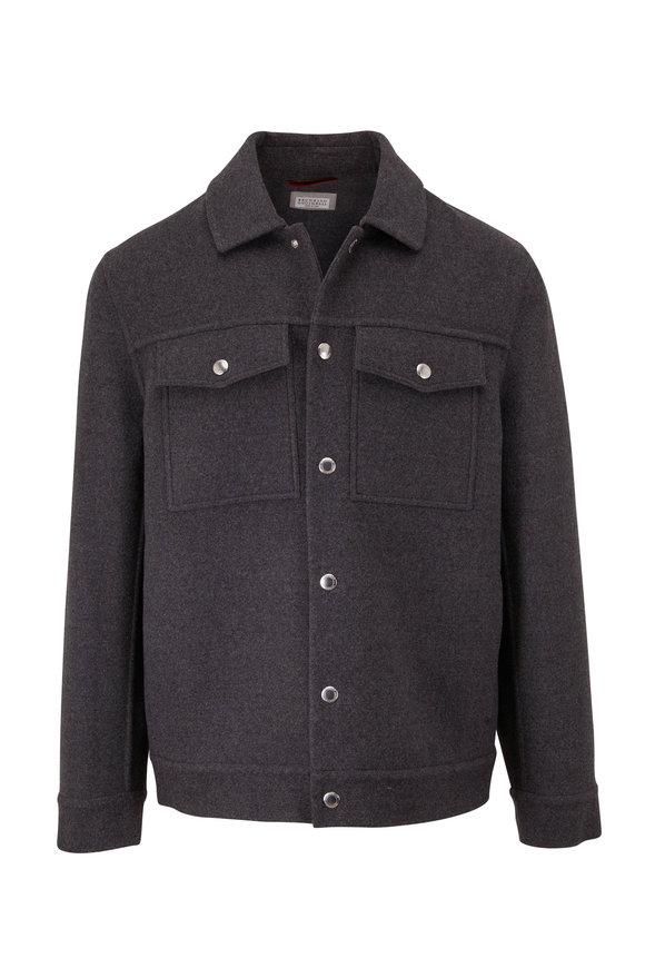 Brunello Cucinelli Charcoal Gray Wool Trucker Jacket