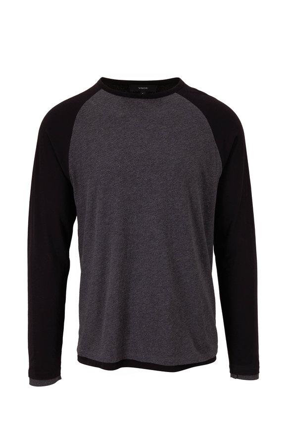 Vince Charcoal & Black Double Layer Baseball T-Shirt