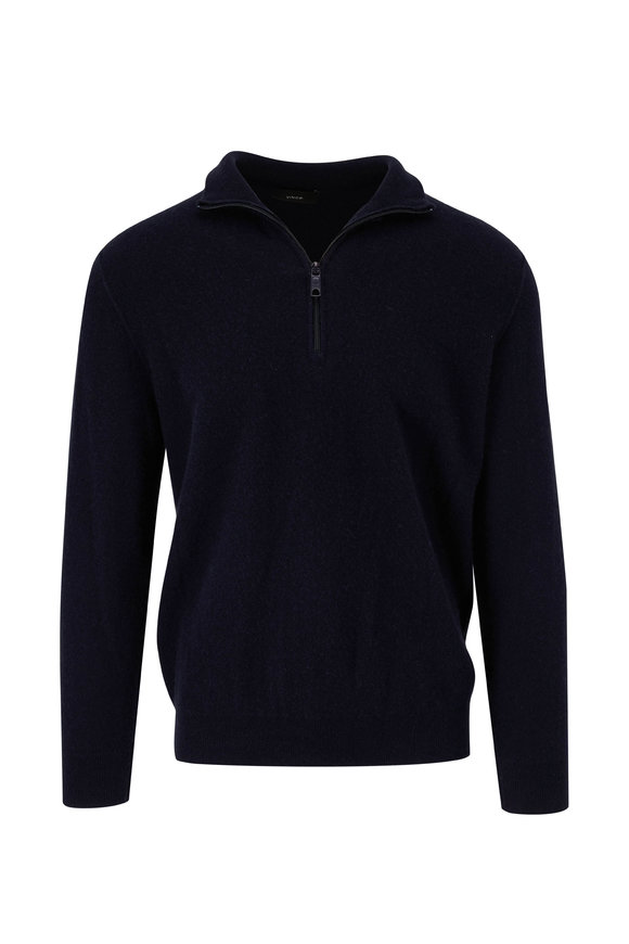 Vince Navy Cashmere Quarter-Zip Pullover