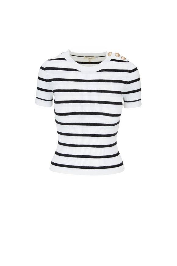 L'Agence Delphine White Stripe Short Sleeve Sweater