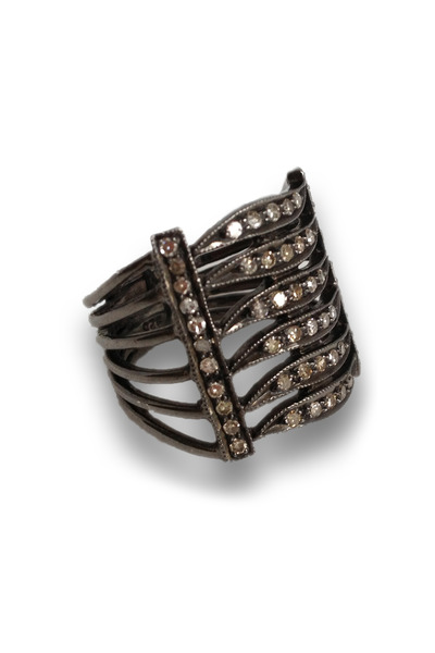 Loriann - 5 Row Black Rhodium Band
