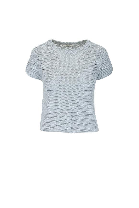 Fog Crochet Short Sleeve Mock Neck Top