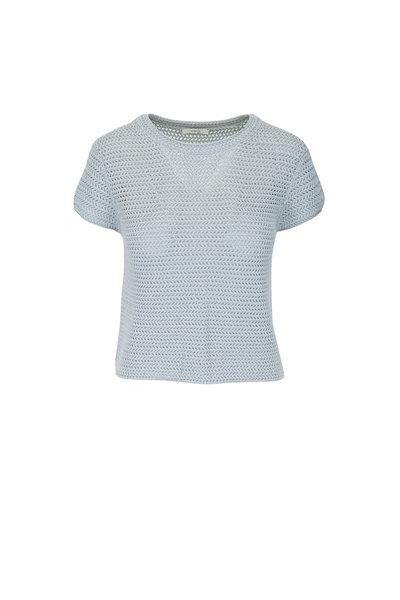 Vince - Fog Crochet Short Sleeve Mock Neck Top