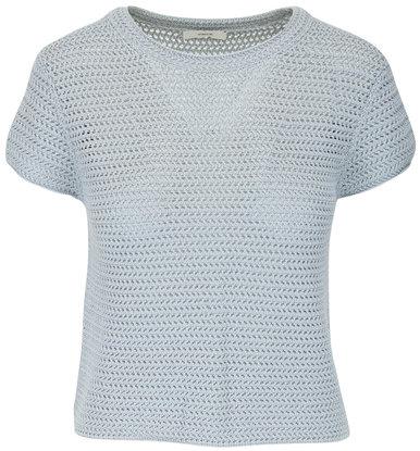 Vince Fog Crochet Short Sleeve Mock Neck Top