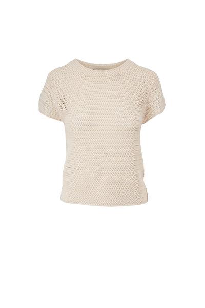 Vince - Bone Crochet Short Sleeve Mock Neck Top