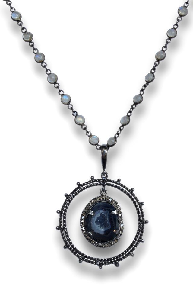 Ring Around Geode Diamond Necklace