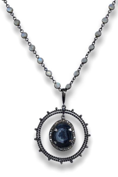 Loriann - Ring Around Geode Diamond Necklace