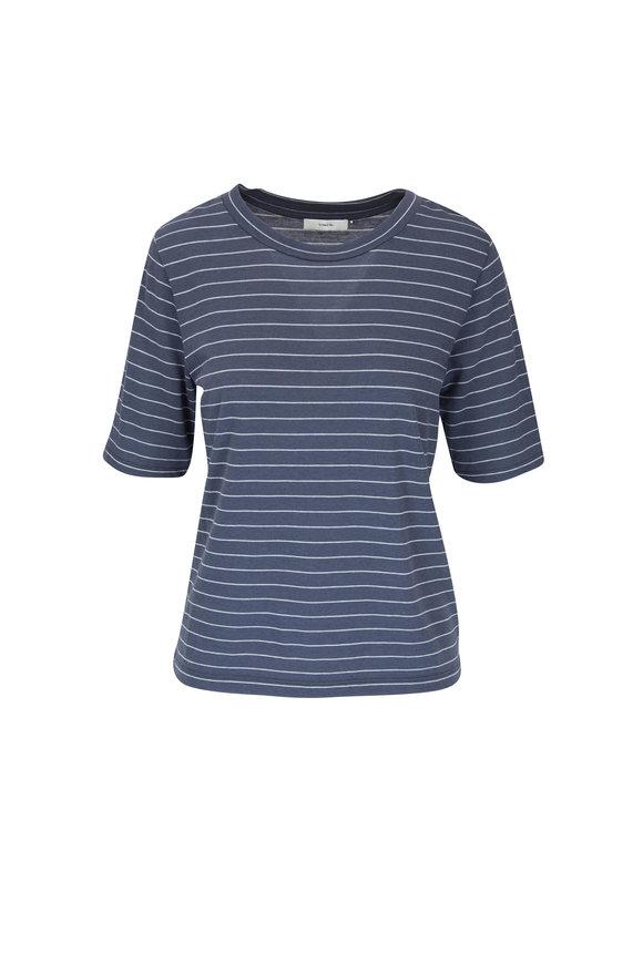 Vince Dark Marina & Mist Stripe Jersey T-Shirt