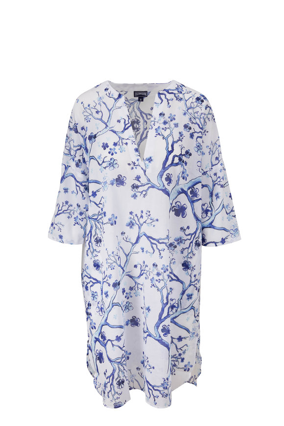 Vilebrequin Farelia Blue & White Cherry Blossom Cover-up Tunic