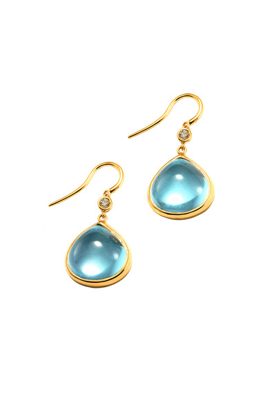 Syna - Yellow Gold Blue Topaz Dangle Earrings