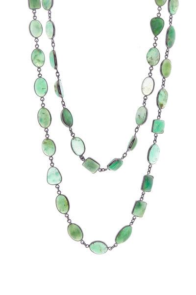 Loriann - Silver Chrysoprase Chain Necklace