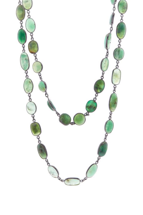 Loriann Silver Chrysoprase Chain Necklace