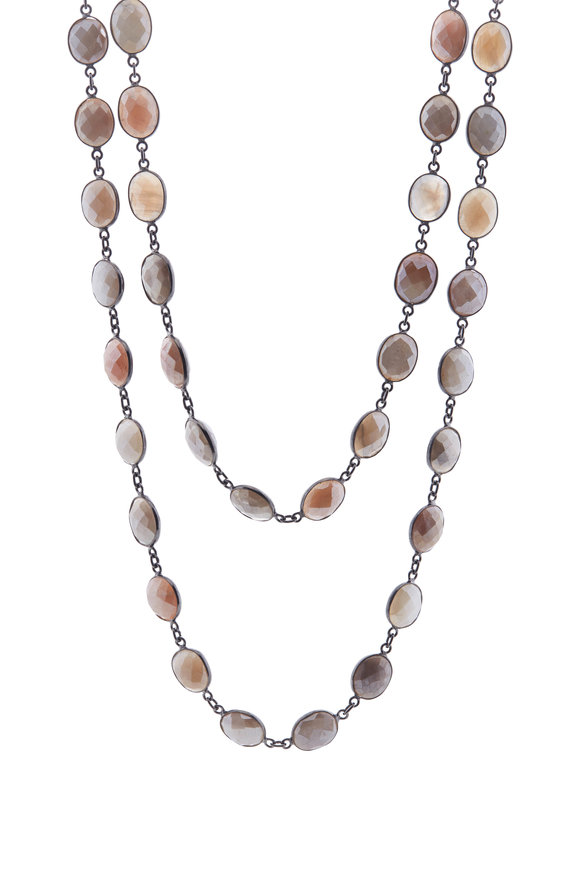 Loriann Silver Mystic Moonstone Chain Necklace
