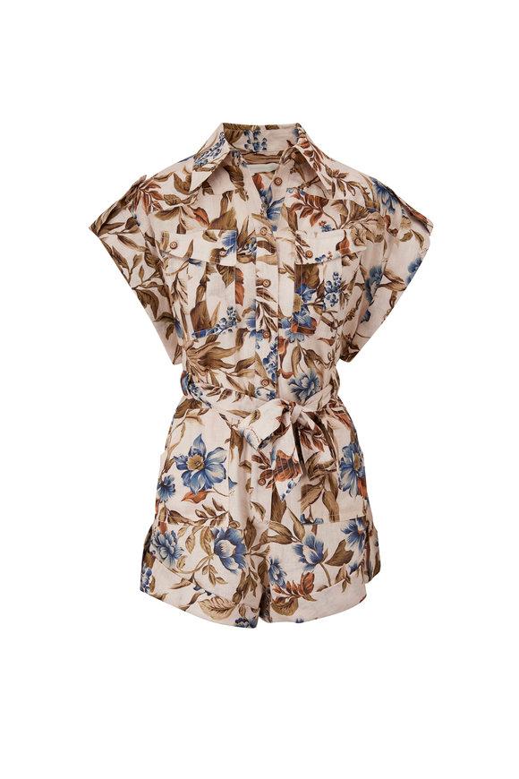 Zimmermann Aliane Khaki Floral-Print Belted Playsuit