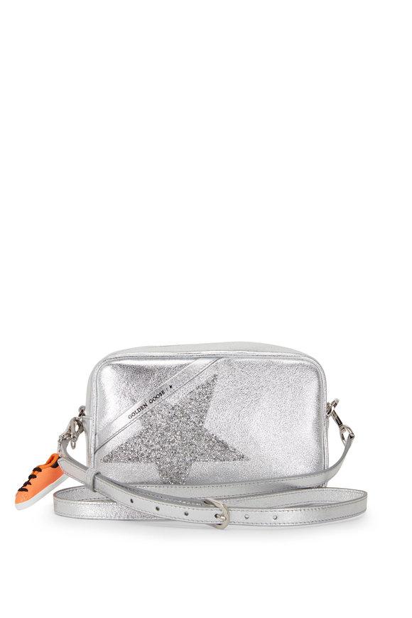 Golden Goose Star Silver Glitter Star Leather Crossbody Bag