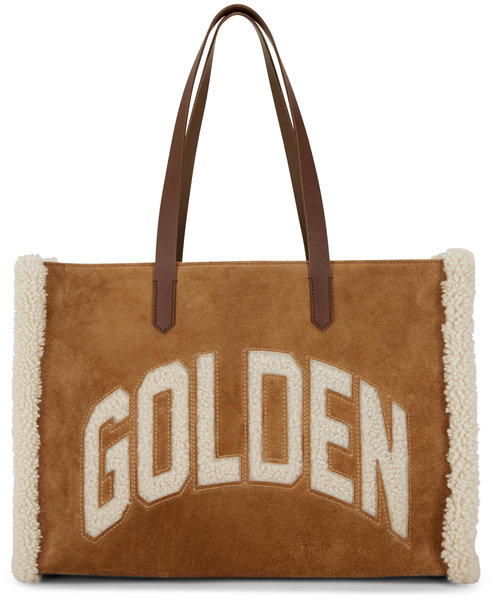 Golden Goose Brown Suede Shearling Logo East/West Tote