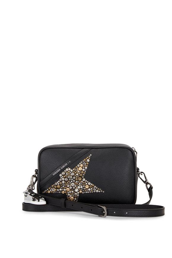 Golden Goose Star Black Leather Studded Star Camera Bag