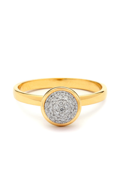 Syna - Medium Stacking Baubles Gold Diamond Ring