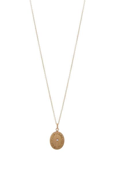 Caroline Ellen - Yellow Gold Engraved Love Me Pendant Necklace