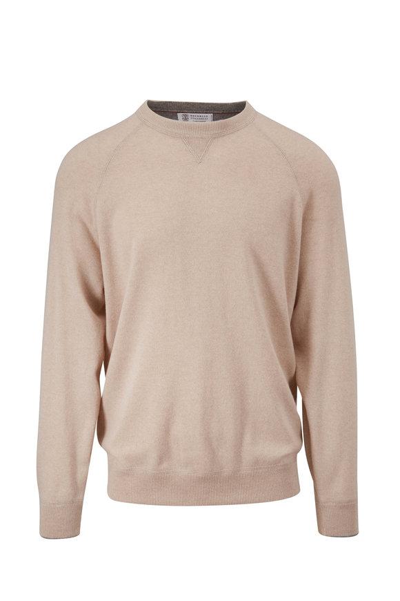 Brunello Cucinelli Sand Raglan Sleeve Crewneck Sweater