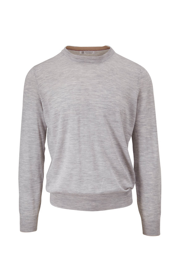 Brunello Cucinelli Light Gray Wool & Cashmere Sweater