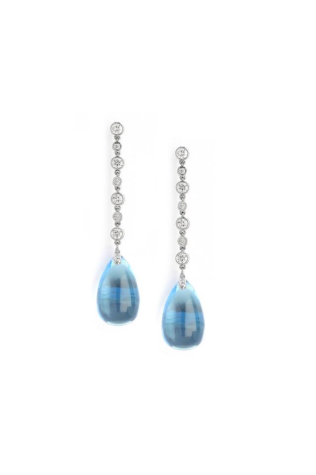 White Gold Diamond And Blue Topaz Dangle Earrings