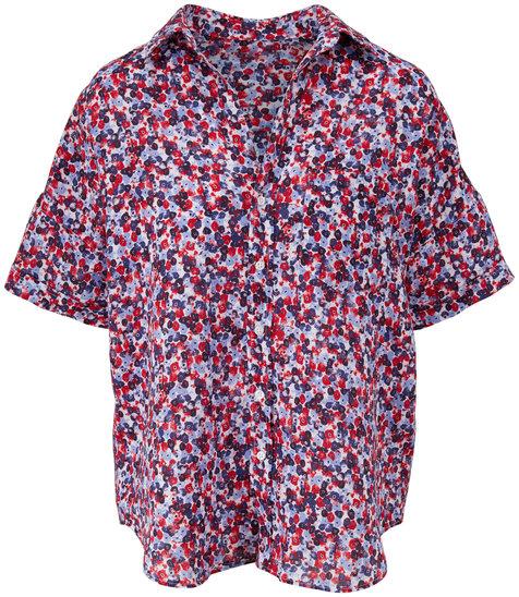 Frank & Eileen Rose Red & Blue Floral Print Short Sleeve Shirt
