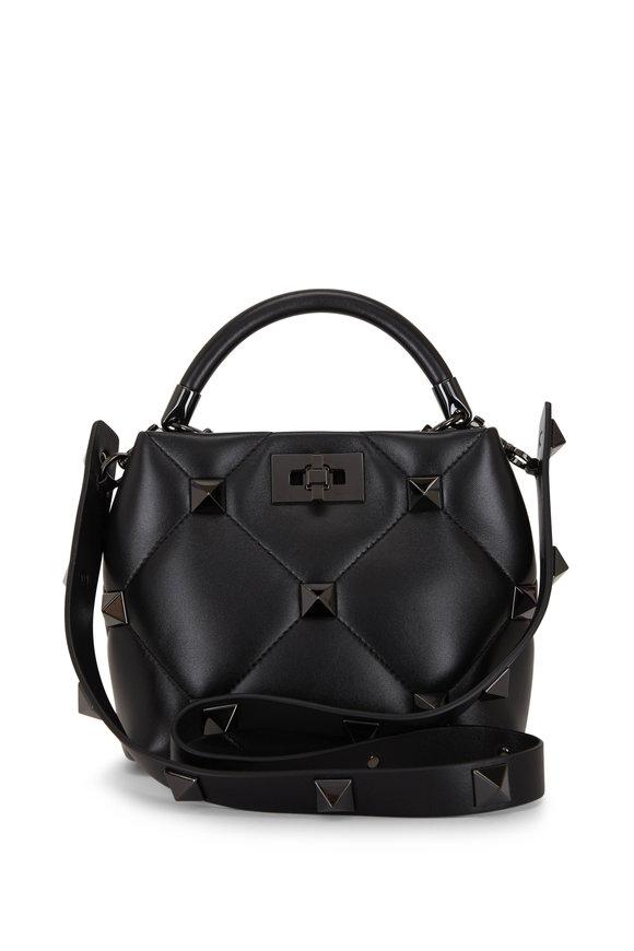 Valentino Garavani The Handle Black Tonal Roman Stud Small Bag