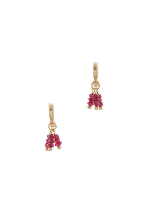 Caroline Ellen Yellow Gold Ruby Tassel Hoop Earrings