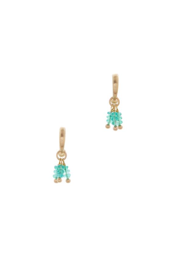 Caroline Ellen Yellow Gold Emerald Bead Tassel Hoop Earrings