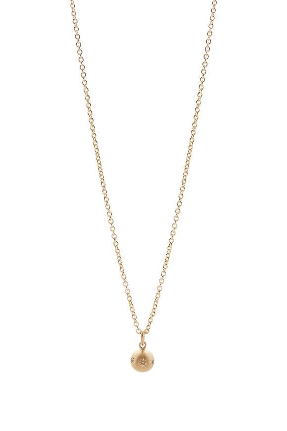 Caroline Ellen Yellow Gold Star Diamond Ball Pendant Necklace
