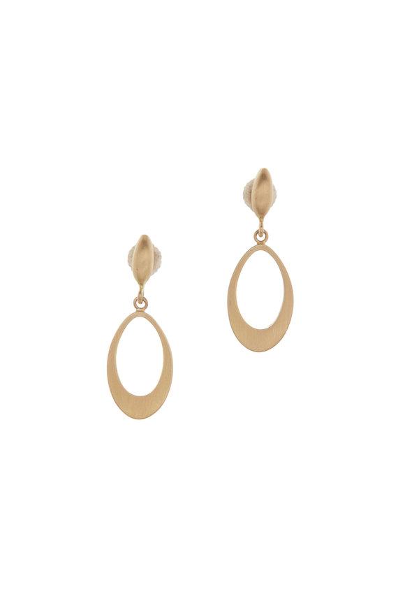 Caroline Ellen Yellow Gold MIni Pearshape Doorknocker Earrings