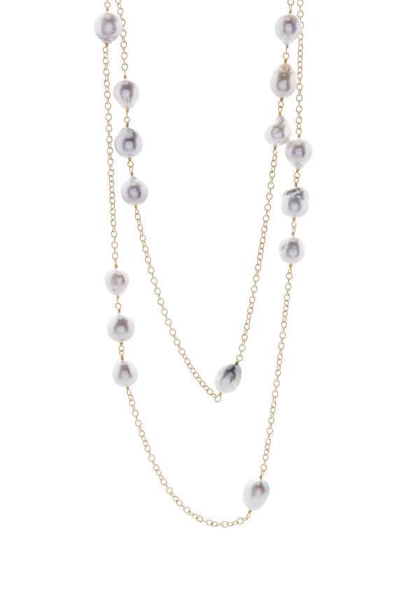 Caroline Ellen Yellow Gold South Sea Pearl Station Necklace