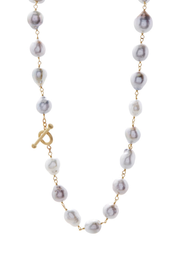 Caroline Ellen Yellow Gold Baroque South Sea Pearl Wrap Necklace