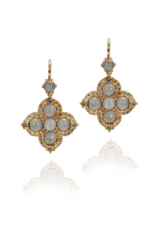 Grey Moonstone Pink Gold Cross Dangle Earrings