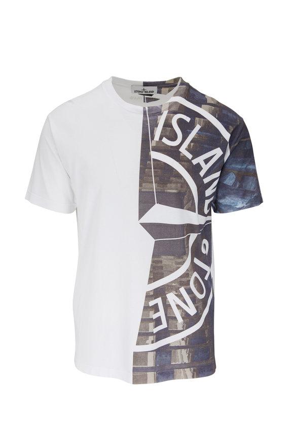 Stone Island White Logo Graphic T-Shirt