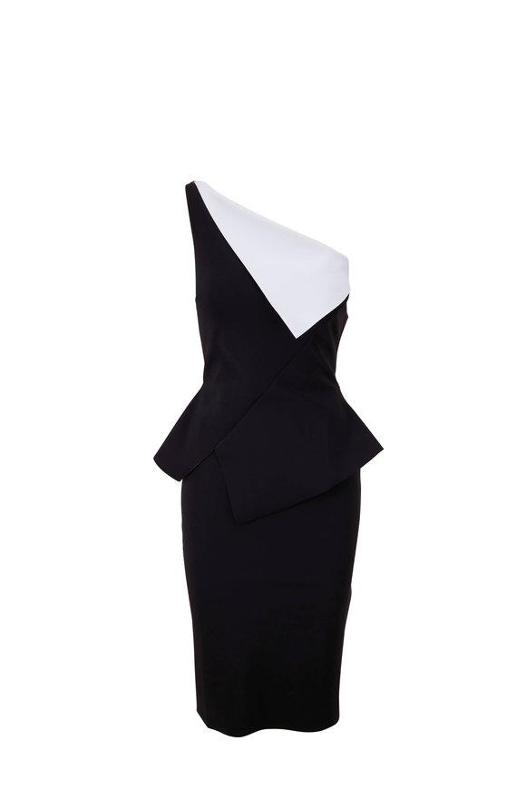 Chiara Boni La Petite Robe Black & White One-Shoulder Dress