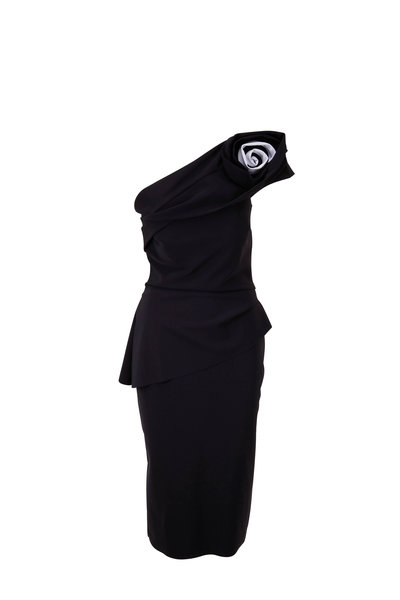 Chiara Boni La Petite Robe - Vickey Black & White One-Shouldered Cocktail Dress