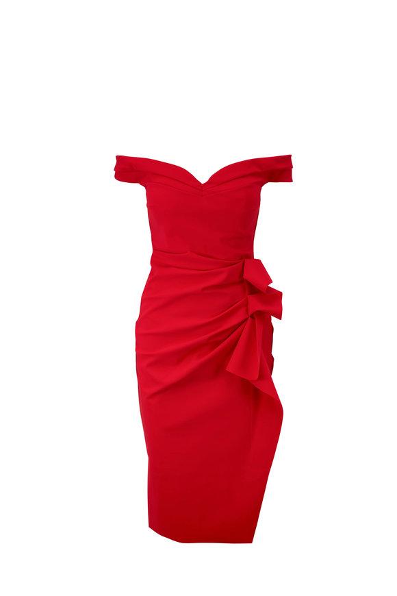 Chiara Boni La Petite Robe Radoslava Red Off-The-Shoulder Dress