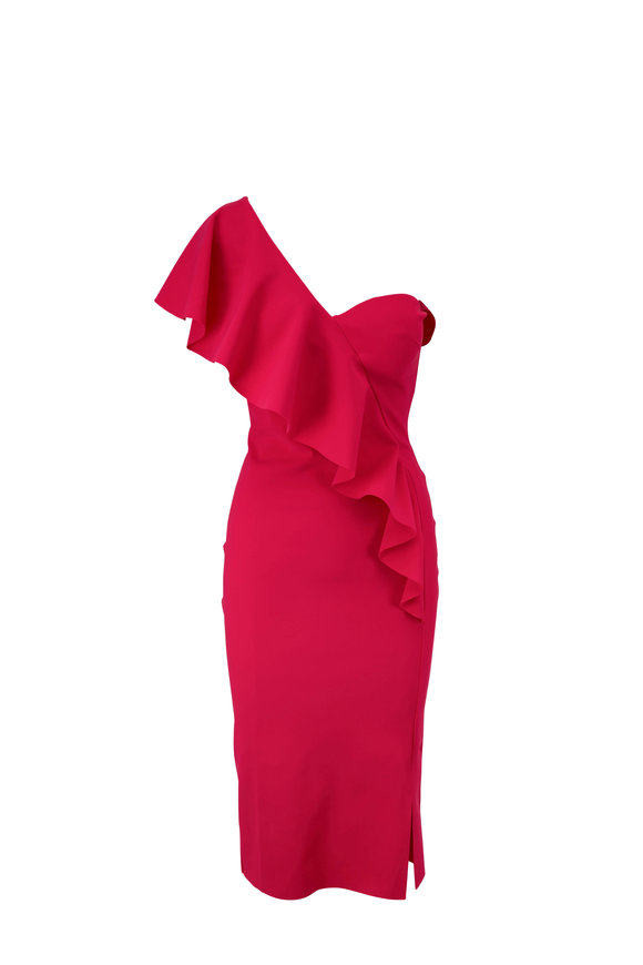 Chiara Boni La Petite Robe Vasilina Cherry One Shoulder Ruffle Dress