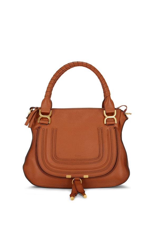 Chloé Marcie Tan Leather Medium Double Carry Bag