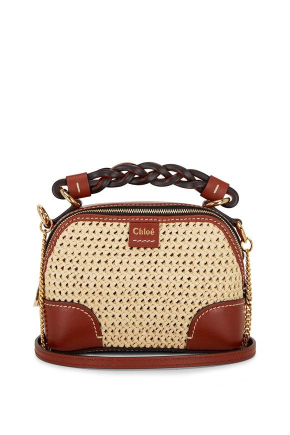 Chloé Daria Sepia Brown Leather & Raffia Mini Bag