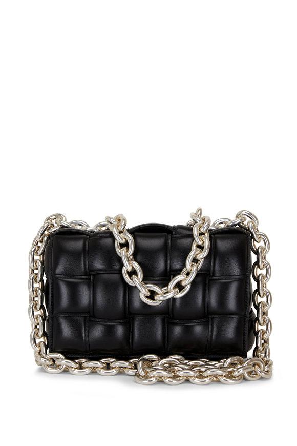 Bottega Veneta The Chain Padded Cassette Black Leather Bag
