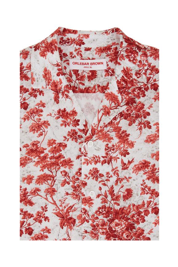 Orlebar Brown Travis Red & White Vintage Rose Resort Shirt