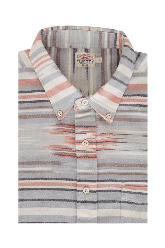 Faherty Brand Playa Blue Rose Short Sleeve Sport Shirt