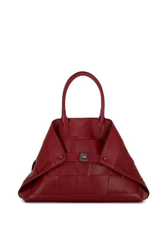 Akris Ai Crimson Woven Leather Small Top Handle Bag