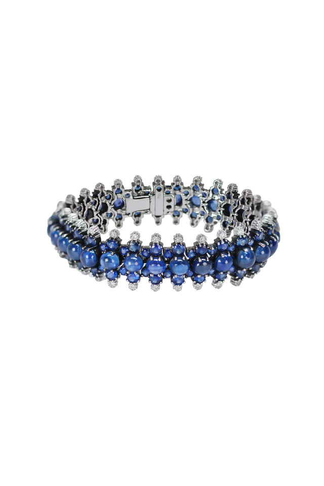 White Gold Blue Sapphire Diamond Bracelet